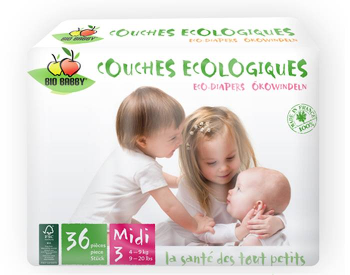 BIO BABBY Pack x4 Couches Écologiques T3 / 4-9 kg / 4 x 36 couches