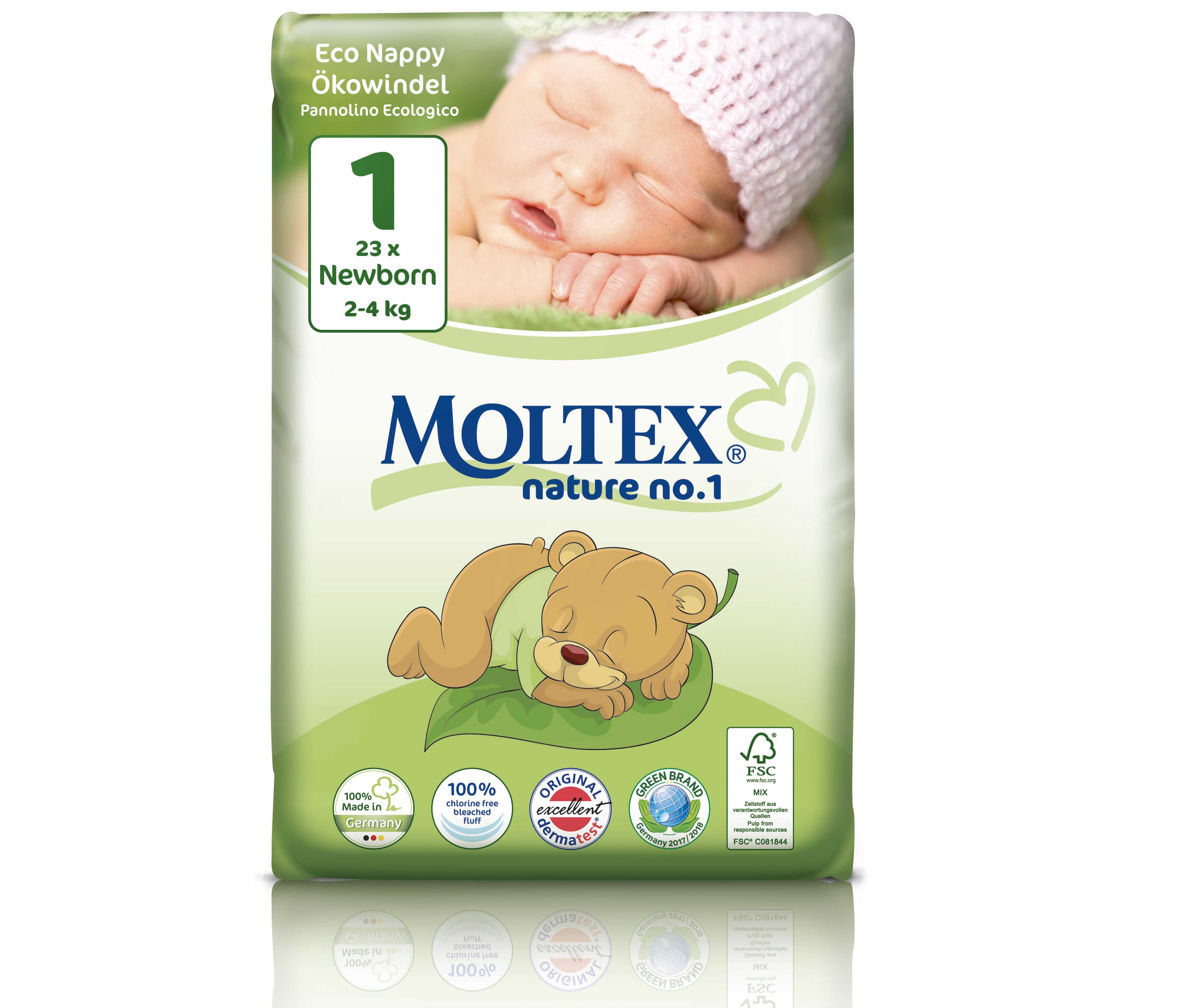 MOLTEX Couches Écologiques Nature No1 - Eco Nappy  T1 / 2-4 Kg / 23 Couches