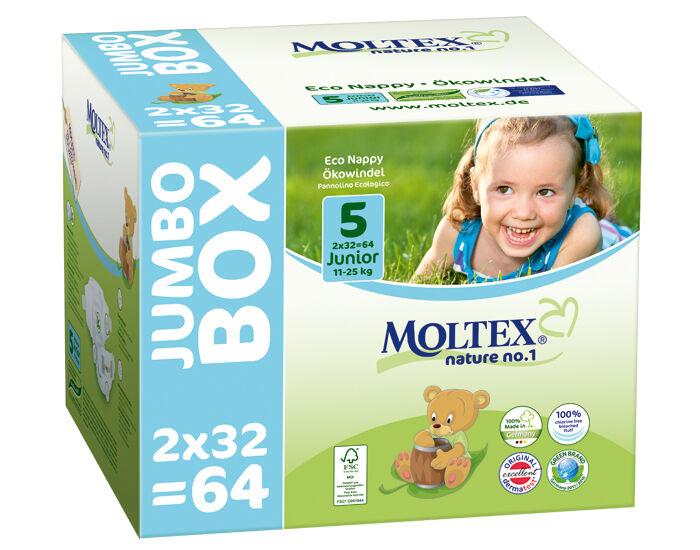 MOLTEX Pack x2 Couches Écologiques Nature No1 - Eco Nappy T5 11-25 kg - 2 x 32 couches