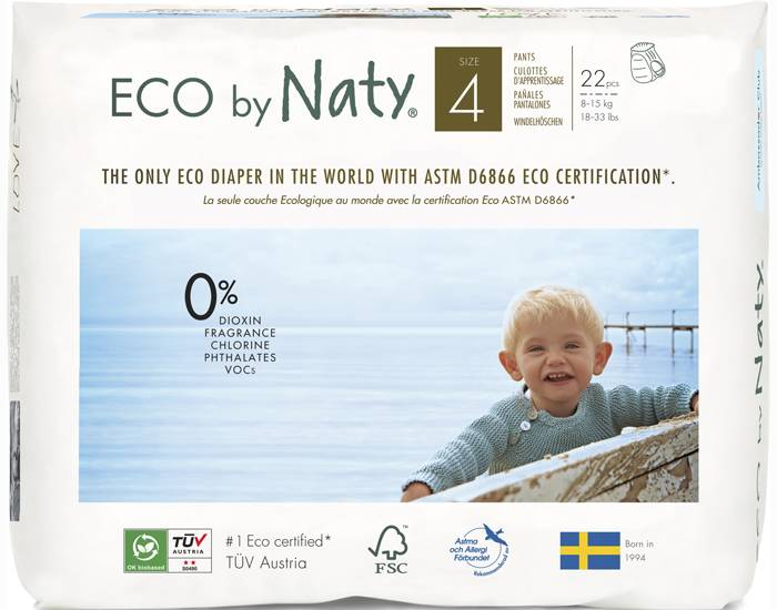 NATY Culottes d'Apprentissage Jetables ECO - Taille 4 Maxi 8-15 kg 4 x 22 soit 88 couches