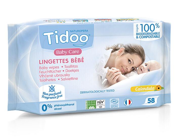 TIDOO Lingettes Bébé Bio Compostables Sans Parfum au Calendula Bio - 58 Lingettes