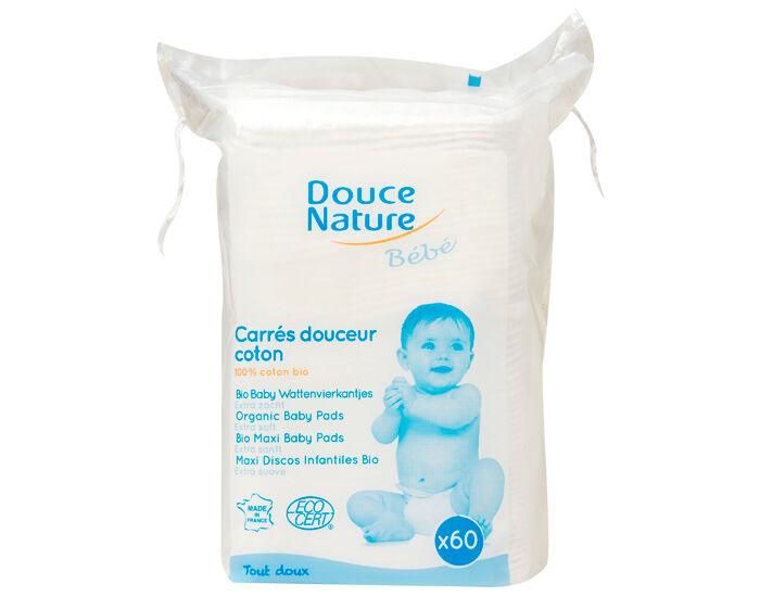 DOUCE NATURE Pack Maxi Carrés Douceur Coton Bio 3 x 60 cotons
