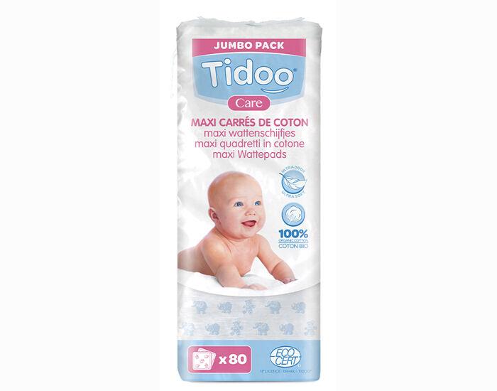 TIDOO Pack Maxi Carrés Ultra Doux de Coton Bio pour Bébé 3 x 80 cotons