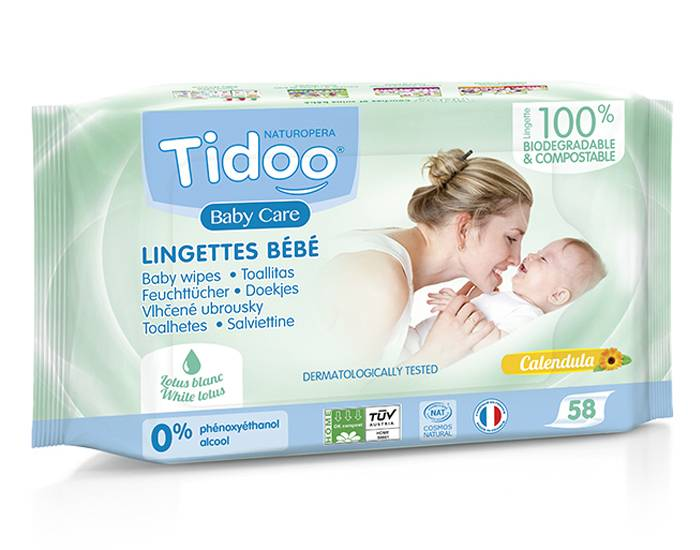 TIDOO Pack x3 Lingettes Bébé Bio Compostables au Calendula Bio et Parfum Naturel 3 x 58 lingettes