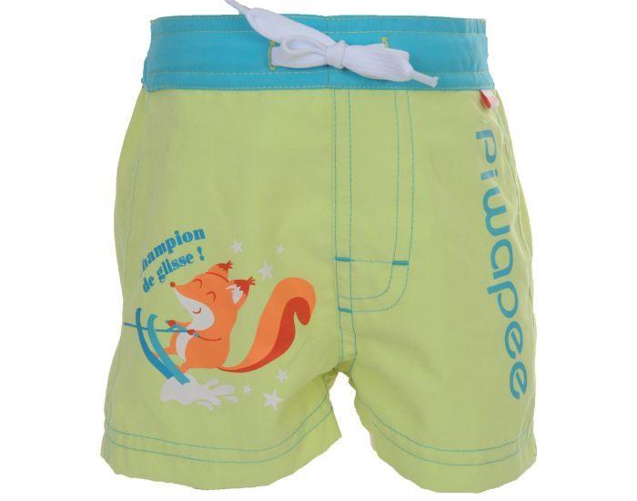 PIWAPEE Short Couche Anti Fuite Clipsable Swim+ Bébé Nageur - Ecureuil Turquoise 8-11 KG ( 6-12M)