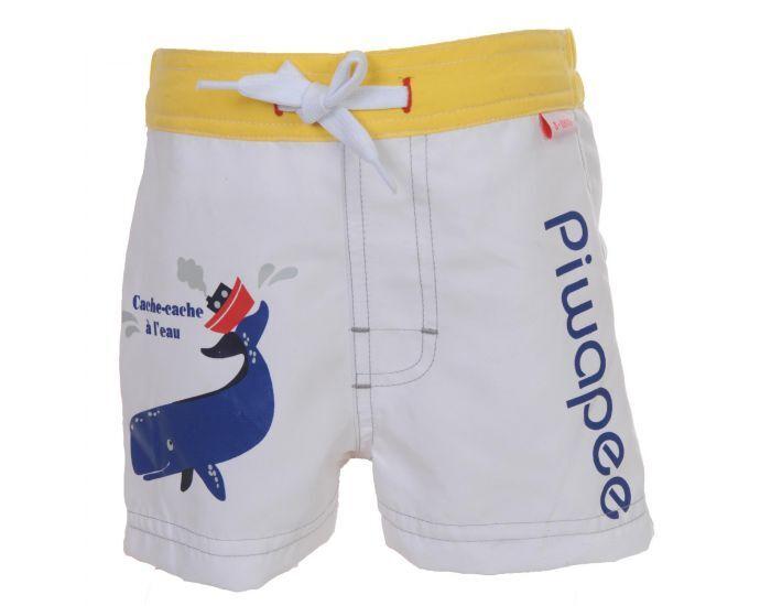 PIWAPEE Short Couche Anti Fuite Clipsable Swim+ Bébé Nageur - Cachalot Blanc Jaune 8-11 KG ( 6-12M)