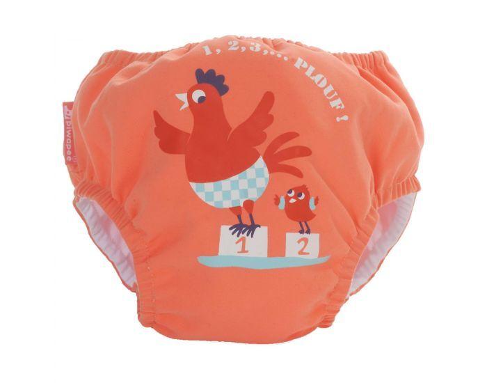 PIWAPEE Maillot Couche Anti Fuite Clipsable Swim + Bebe Nageur - Cocotte Corail 4-8 KG ( 3-6M)