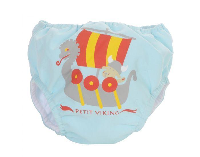 PIWAPEE Maillot Couche Anti Fuite Clipsable Swim + Bébé Nageur - Viking Bleu Ciel 4-8 KG ( 3-6M)