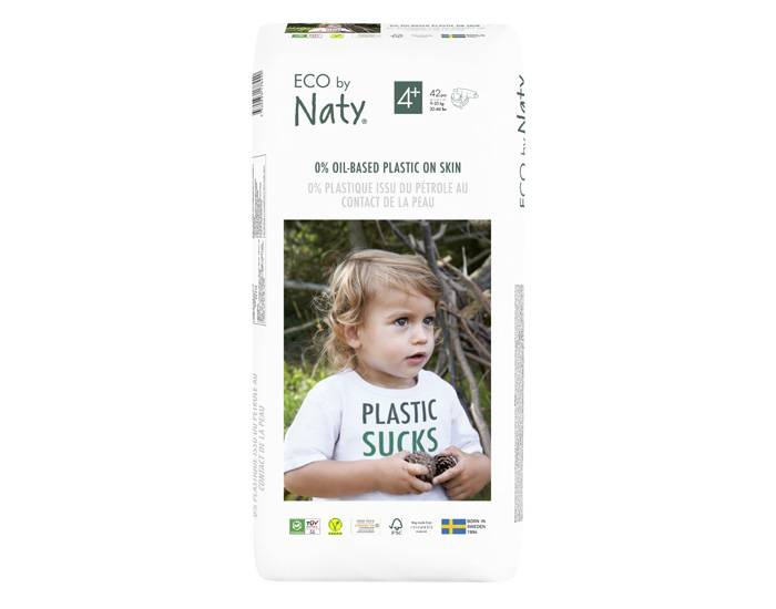 NATY Couches Écologiques Eco by Naty - Pack Economique T4+ / 9-20 kg / 42 couches