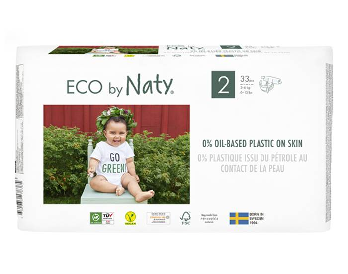 NATY Pack x2 Couches Écologiques Eco by Naty T2 / 3-6 kg / 2 x 33 couches