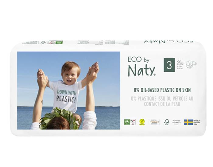 NATY  Pack x4 Couches Écologiques Eco by Naty T3 / 4-9 kg / 4 x 50 couches