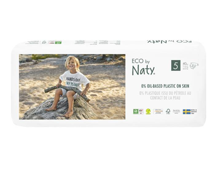 NATY  Pack x4 Couches Écologiques Eco by Naty T5 / 12-25 kg / 4 x 40 couches