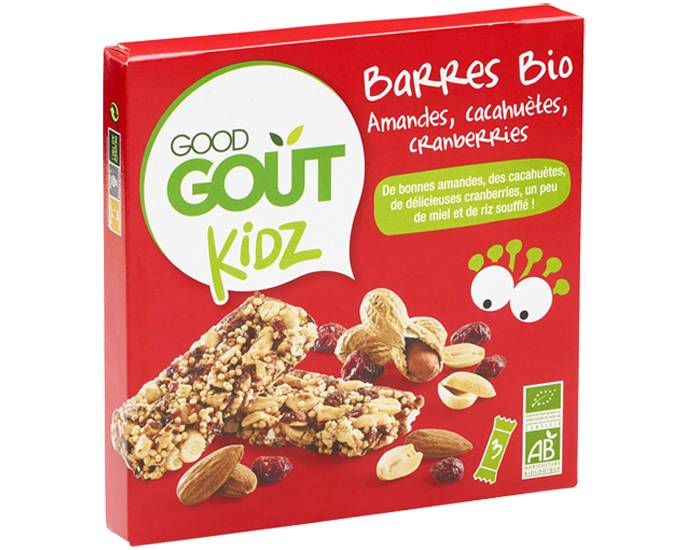 GOOD GOûT GOOD GOUT KIDZ Barres Bio Amandes Cacahuètes Cranberries - 3 x 20 g