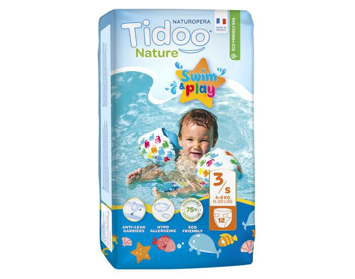 TIDOO Couches de Bain Écologiques Nature - Swim et Play - 4-9 Kg T.3 - 12 Couches