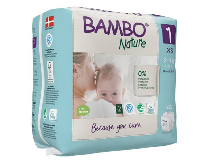 BAMBO NATURE Pack x3 Couches Écologiques Nature T1 / 2-4 kg kg / 3 x 28 couches