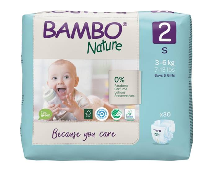 BAMBO NATURE Pack x6 Couches Écologiques Nature T2 / 3-6 kg / 6 x 30 couches