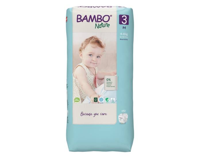BAMBO NATURE Pack x3 Couches Écologiques Nature T3 - 4-8 kg - 3 x 52 couches