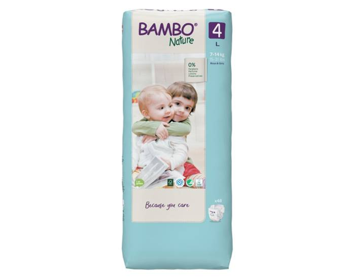 BAMBO NATURE Pack x3 Couches Écologiques Nature T4 - 7-18 kg - 3 x 60 couches