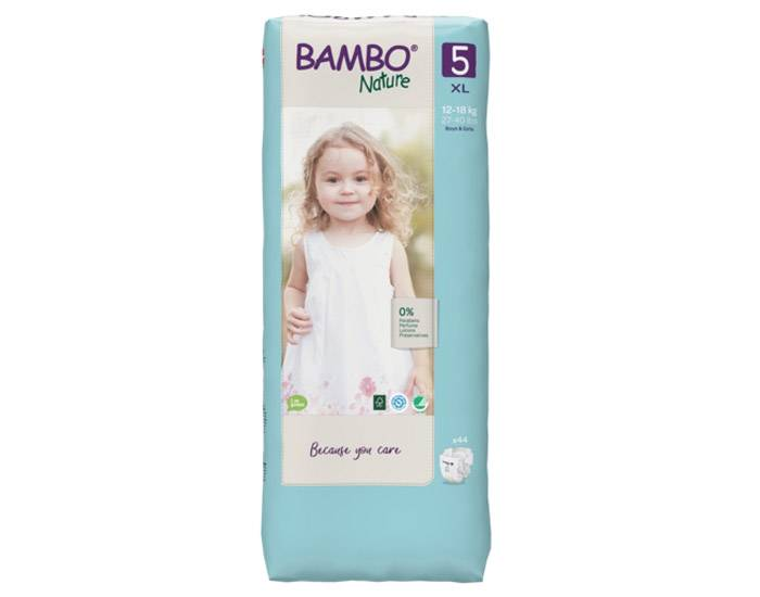 BAMBO NATURE Pack x6 Couches Écologiques Nature T5 - 12-22 kg - 6 x 54 couches