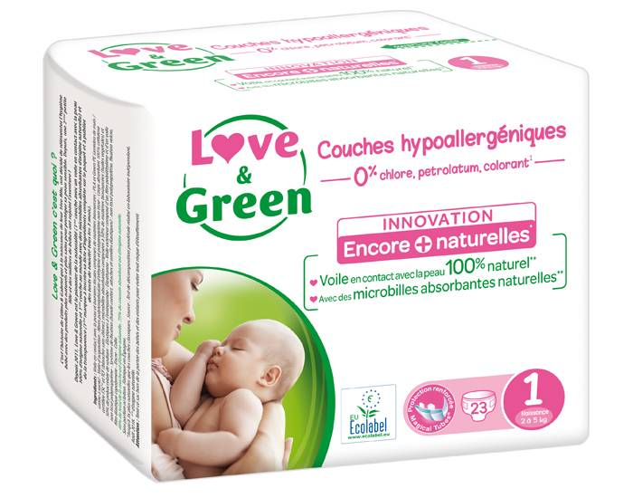 Love and Green Pack x3 Couches Écologiques 0% T1 / 2-5 kg / 3 x 23 couches
