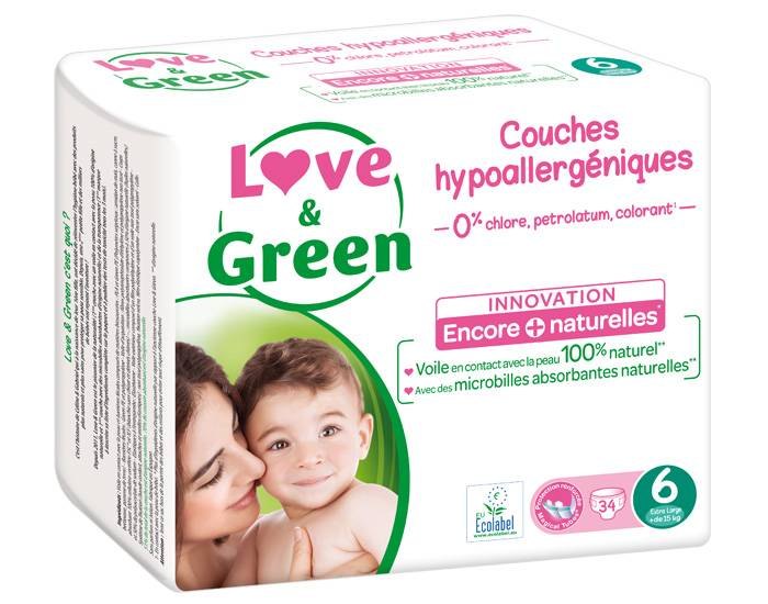 Love and Green Pack x3 Couches Écologiques 0% T6 / +16 Kg / 3 x 34 couches