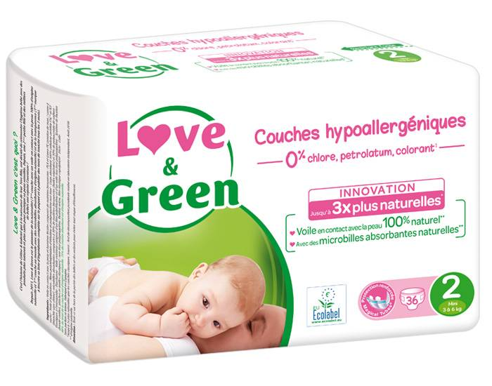Love and Green Pack x6 Couches Écologiques 0% T2 / 3-6 Kg / 6 x 36 couches
