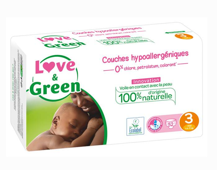 Love and Green Pack x6 Couches Écologiques 0% T3 / 4-9 Kg / 6 x 52 couches