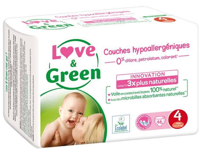 Love and Green Pack x6 Couches Écologiques 0% T4 / 7-14 Kg / 6 x 46 couches