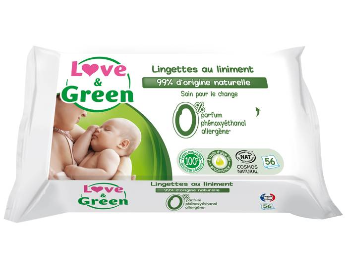 Love and Green Pack x3 Lingettes au Liniment 3 x 56 lingettes