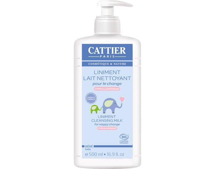 CATTIER Pack x2 Liniment Lait Nettoyant Bio pour le Change - 500 ml Lot de 2