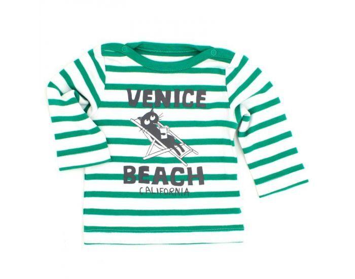 """LA QUEUE DU CHAT T-Shirt Bébé à Manches Longues en Coton Bio """"Venice Beach""""- Dès 3 mois 3 mois"""
