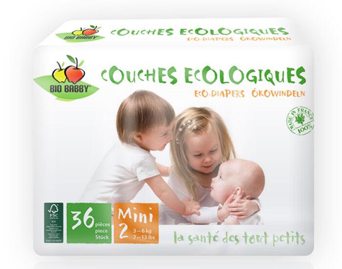 BIO BABBY Couches Écologiques T2 / 3-6 Kg / 36 couches