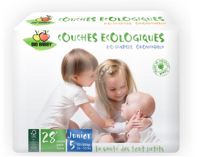 BIO BABBY Couches Écologiques T5 / 12-25 Kg / 28 couches