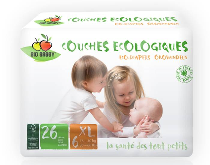 BIO BABBY Couches Écologiques T6 / 16-30 Kg / 26 couches