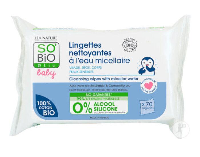 SO'BIO Baby Lingettes Nettoyantes à l'Eau Micellaire - Paquet de 70