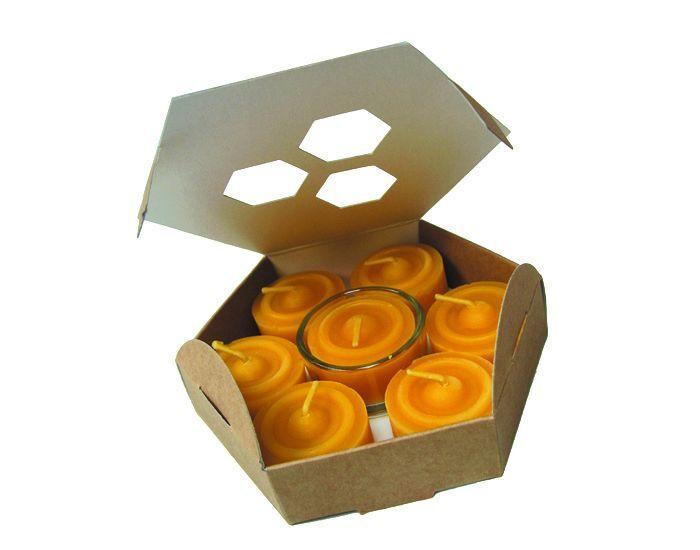 ECODIS 7 Bougies Veilleuses en Cire d'Abeille - Avec support Verre