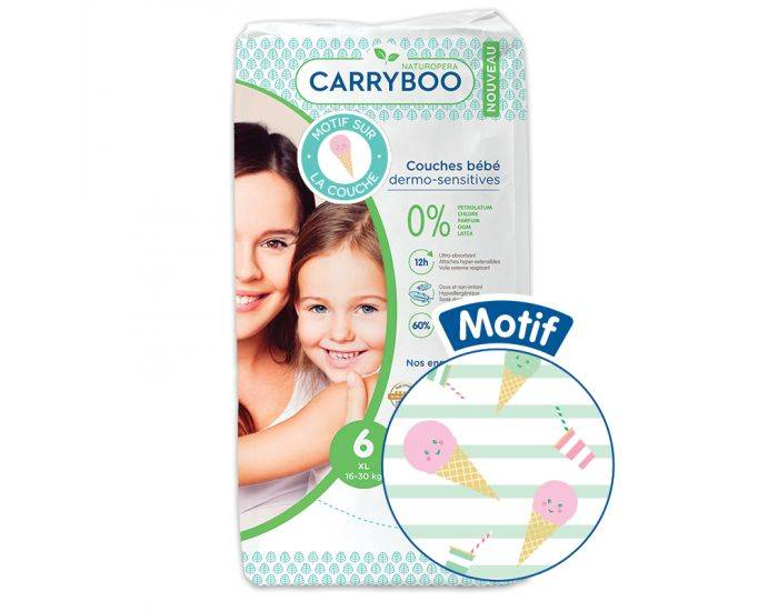 CARRYBOO Couches Écologiques Dermo-Sensitives T6 - 16 à30Kg - 36 Couches Glace