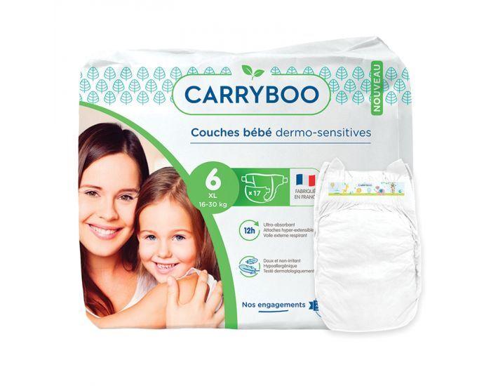 CARRYBOO Couches Ecologiques Dermo-sensitives T6 - 16 à30 Kg - 6x17 couches Blanc