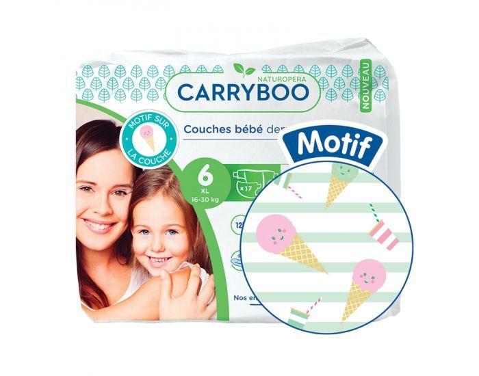 CARRYBOO Couches Ecologiques Dermo-sensitives T6 - 16 à30 Kg - 6x17 couches Glace