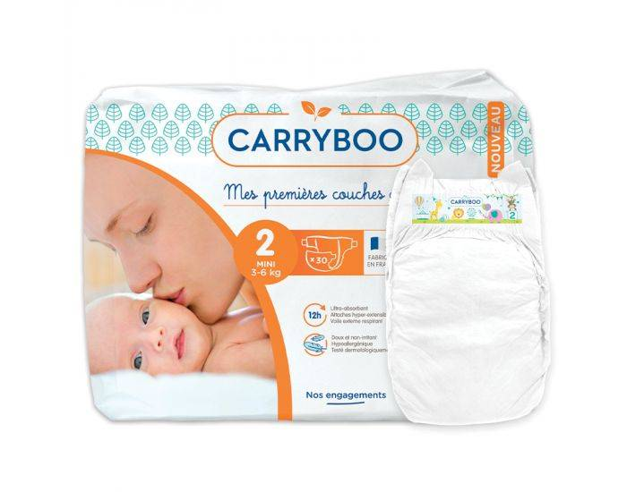 CARRYBOO Couches Ecologiques Dermo-sensitives T2 - 3 à6Kg - 30 couches Blanc