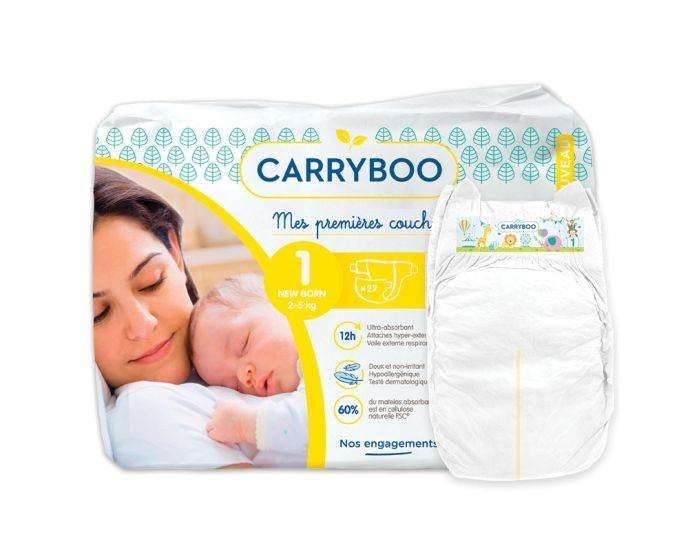 CARRYBOO Couches Ecologiques Dermo-sensitives T1 - 2 à 5Kg - 27 couches Blanc