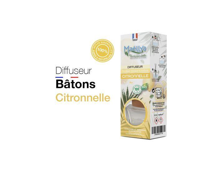 MAELLYA Lot de 2 Diffuseurs Bâtons Bio aux Huiles Essentielles Citronnelle Anti Volants - 40 ml