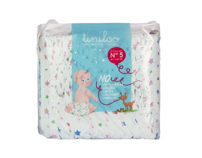 TINILOO Couches Ecologiques Taille 5 - 11 à 25 kg - 24 couches Tiny Star