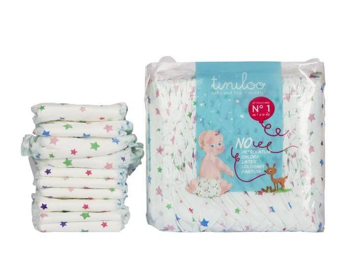 TINILOO Couches Ecologiques Taille 1 - 2 à 5 kg - 28 couches Tiny Star