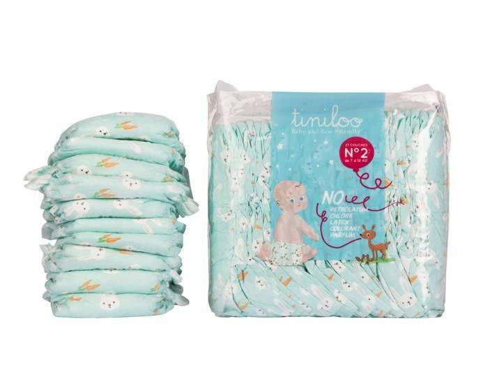 TINILOO Couches Ecologiques Taille 2 - 3 à 6 kg - 28 couches Rabbit and Carrot