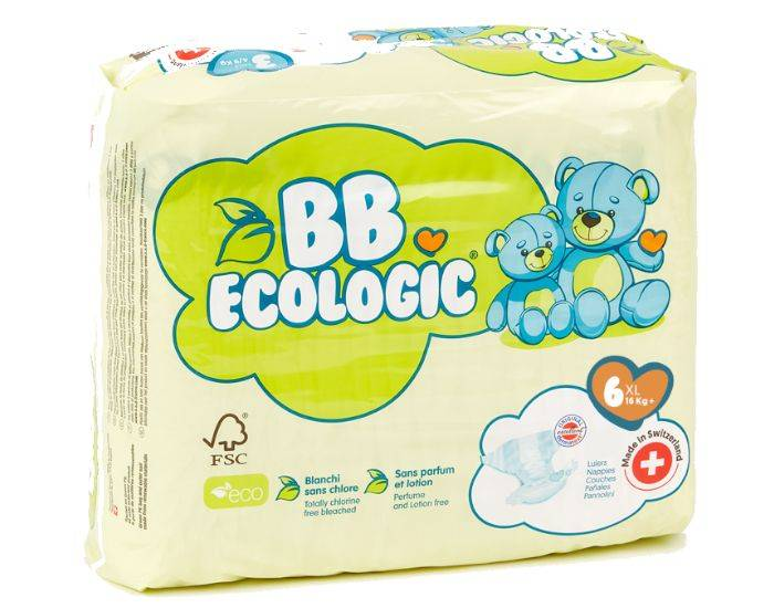 BB ECOLOGIC BB ECOLOGIC Couches Écologiques T6 XL (16kg Et +) - 22 Couches 1 paquet