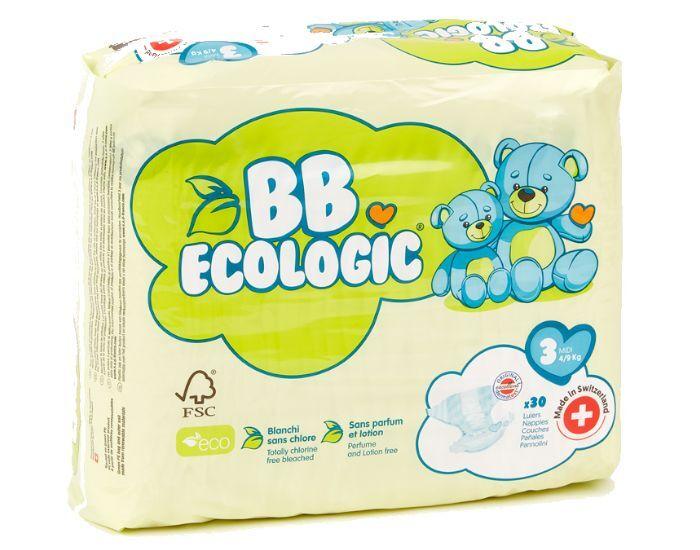 BB ECOLOGIC Couches Écologiques T3 Midi (4-9kg) - 30 couches 8 paquets