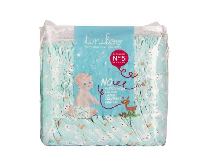 TINILOO Pack x3 Couches Ecologiques Taille 5 - 11 à 25 kg - 3x24 couches Rabbit et Carrot