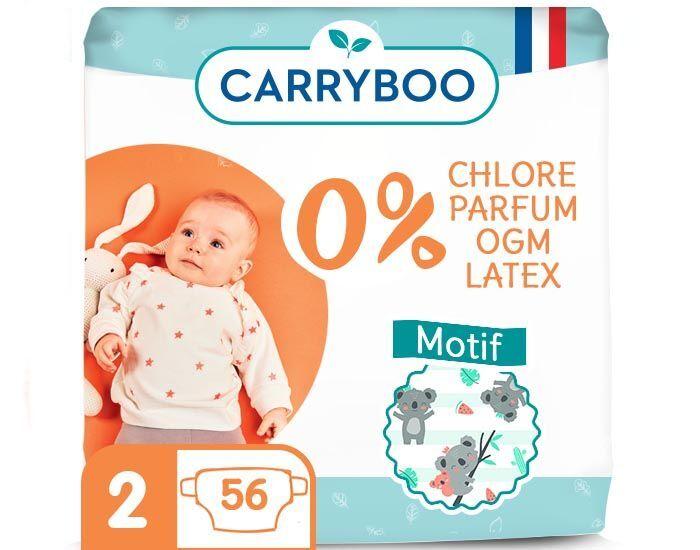 CARRYBOO Pack économique - Couches Ecologiques French, Clean et Chou T2 / 3-6 kg / 56 couches