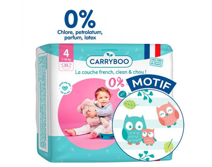 CARRYBOO Pack X6 - Couches Ecologiques French, Clean et Chou T4 / 7-18Kg / 6X23 couches